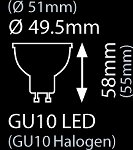PAR16 5,5W-50W 2700K 230V GU10 40° 350LM