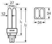 Osram DULUX D/E2 compact fluorescent light bulb 6W 840