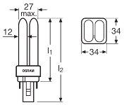Osram DULUX D compact fluorescent light bulb 13W 830