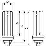 Philips PL-T Kompaktleuchtstofflampe  26W/830/4P GX24q-3