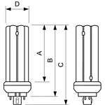 Philips PL-T Kompaktleuchtstofflampe 42W/840/4P GX24q-4